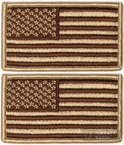 Tac Shield US American Flag Insignia PATCH 2-PACK Coyote Subdued 03802
