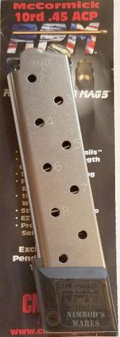 Chip McCormick 1911 RAILED Power Mag .45ACP 10 Round MAGAZINE 17150