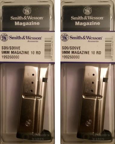 2 pack smith wesson 19926 sd9 sd9ve 9mm 10rd ss magazine