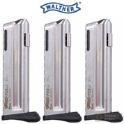 WALTHER P22Q 22LR 10 Round Magazine 3-PACK w/ Finger Rests 512604