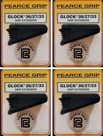 4-PACK Pearce Grip PG-2733 GLOCK 26/27/33/39 Grip Extensions PLUS