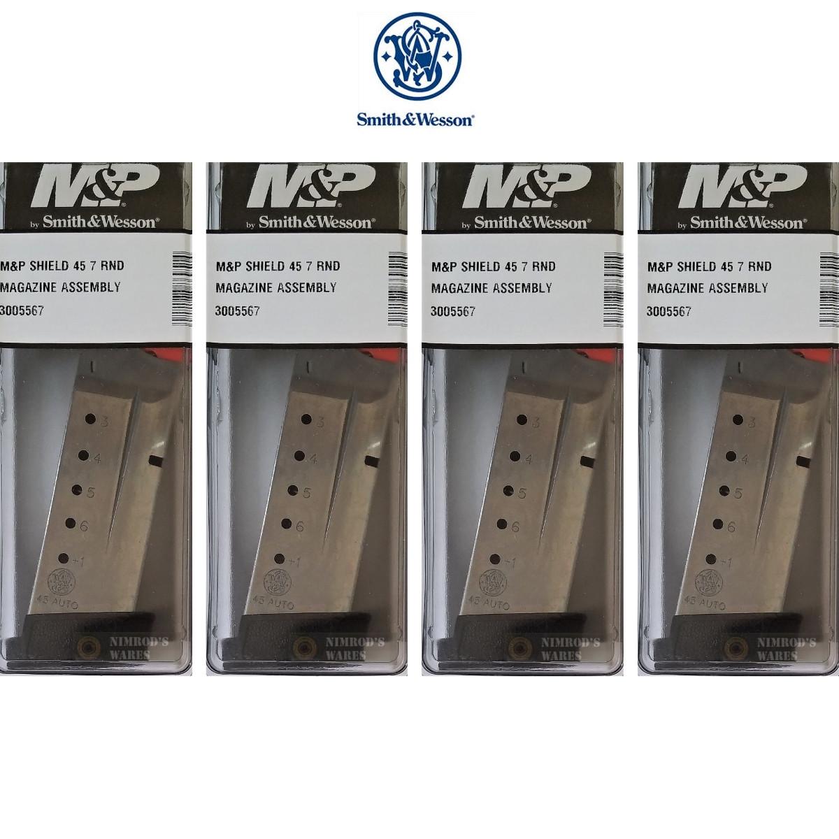 S&W Smith & Wesson M&P 45 SHIELD  45 ACP 7 Round MAGAZINE 4-PACK 3005567