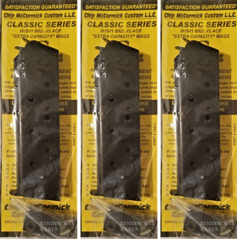 Chip McCormick 14311 CLASSIC Mil-Spec 1911 45ACP 8rd Mag with Pad 3-PACK