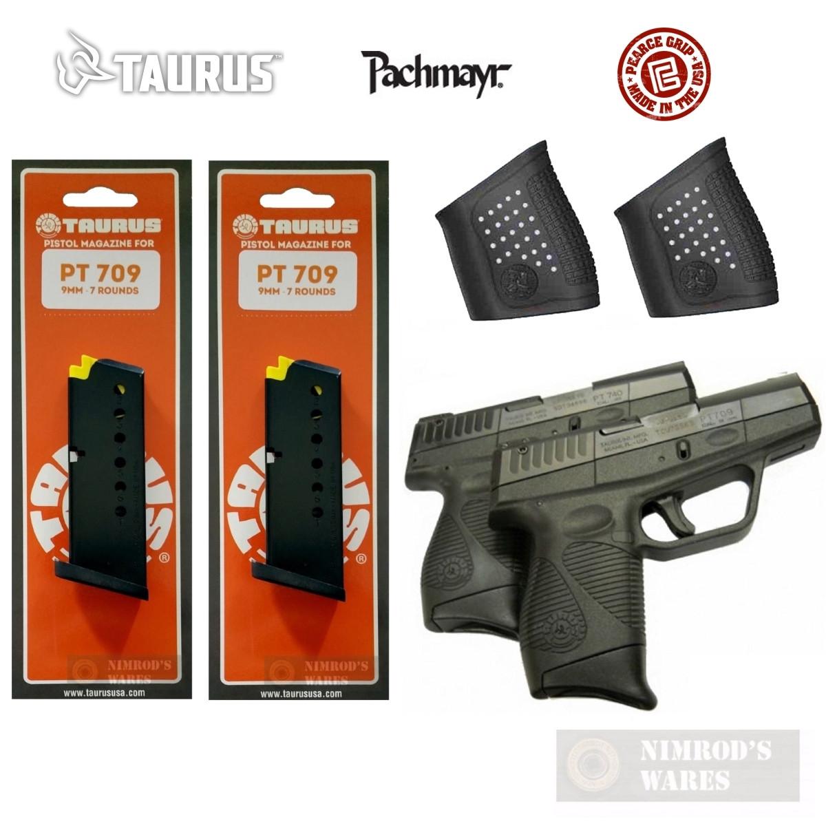 TAURUS PT-709 KIT 2-PACK: Magazines + Grip Sleeves + Grip Extensions  5-10709 05179 PG-709