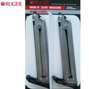 RUGER MK IV Mark IV 22/45 & LITE 10 Round .22 LR MAGAZINE 2-PACK Nickel 90599