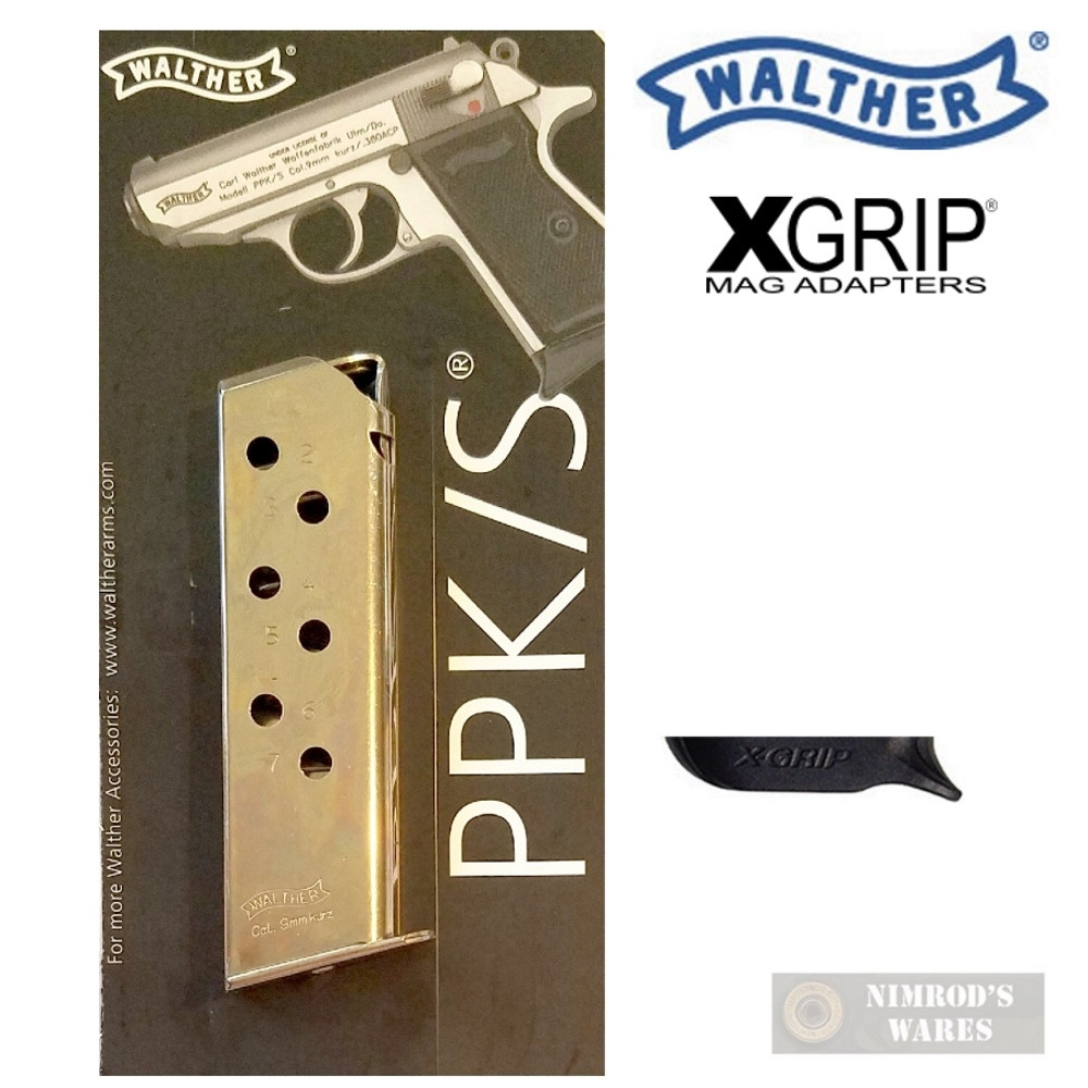 WALTHER PPK  380 ACP 7 Round Nickel MAGAZINE + X-GRIP Mag SPACER 2246011  WPPK