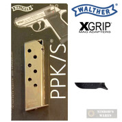 WALTHER PPK .380 ACP 7 Round Nickel MAGAZINE + X-GRIP Mag SPACER 2246011 WPPK
