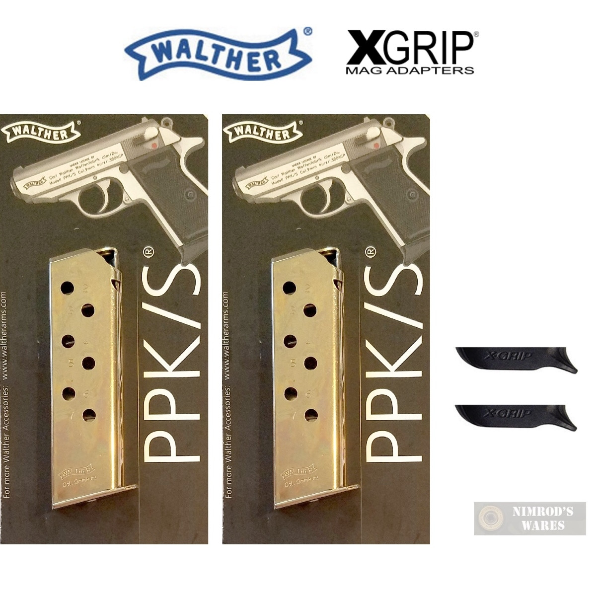WALTHER PPK  380 ACP 7 Round Nickel MAGAZINE + X-GRIP Mag SPACER 2-PACK  2246011 WPPK