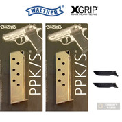 WALTHER PPK .380 ACP 7 Round Nickel MAGAZINE + X-GRIP Mag SPACER 2-PACK 2246011 WPPK