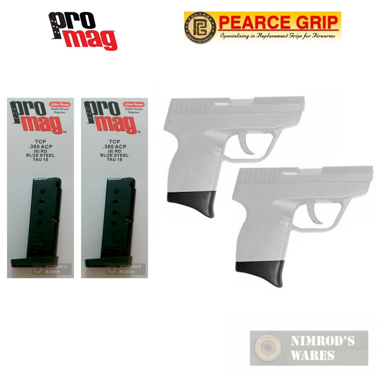 ProMag TAURUS TCP  380 ACP 6 Round Magazine 2-PACK + Pearce Grip Extension  2-PACK TAU18 PG-TCP