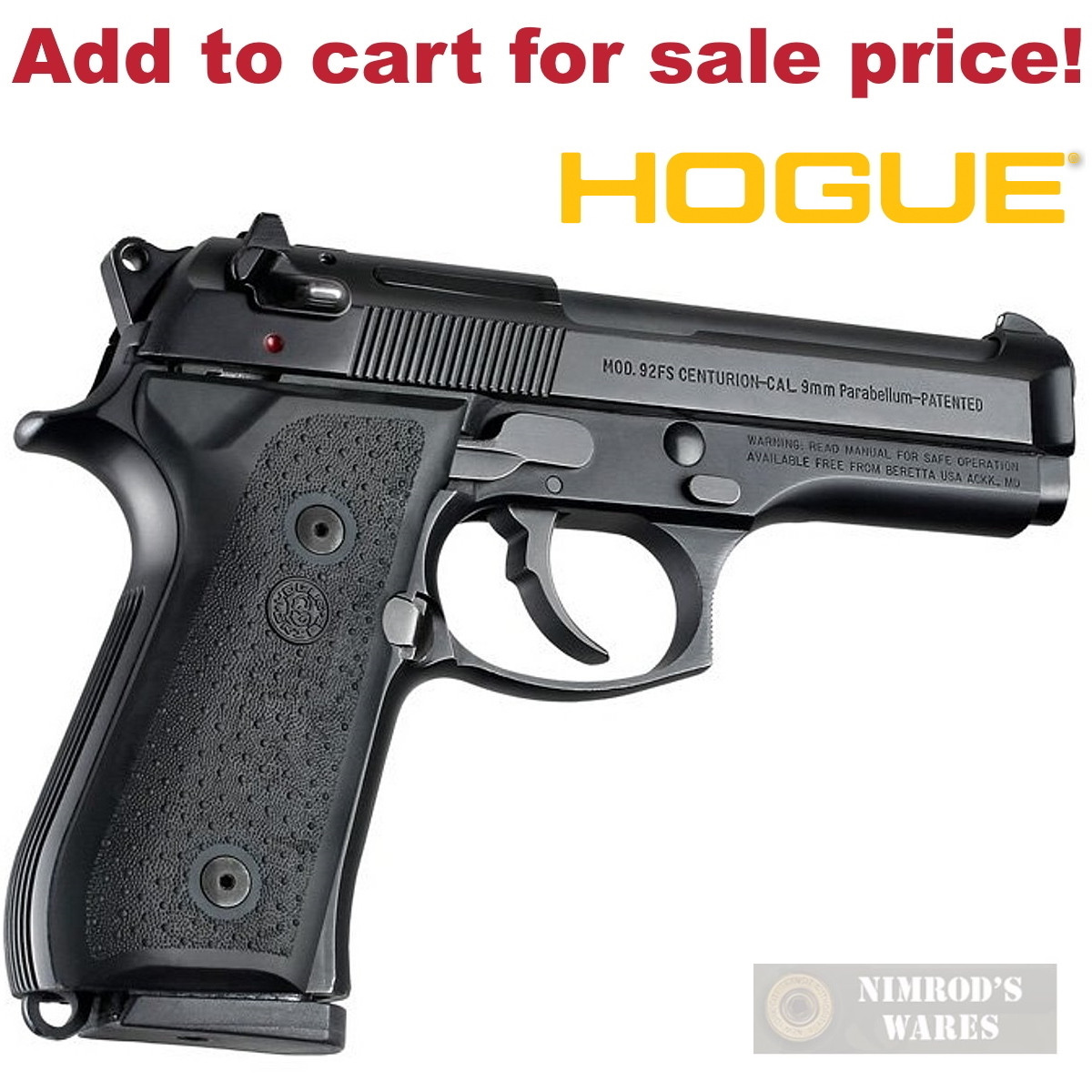 HOGUE Beretta 92F 92FS 96 M9 92A1 & MORE! GRIP Panels Rubber 92010 - Add to  cart for sale price!