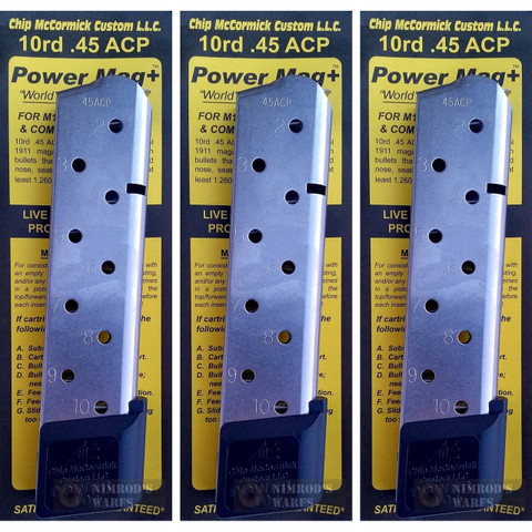 Chip McCormick 1911 .45 ACP 10 Round Power MAGAZINE+ PLUS 3-PACK 12150