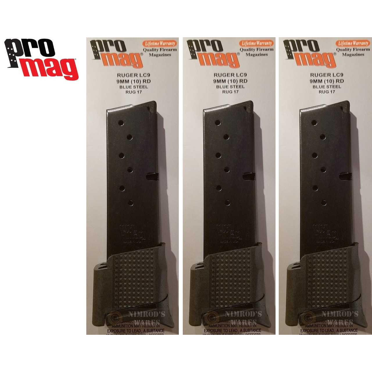 ProMag Ruger LC9 9mm 10 Round MAGAZINE 3-PACK RUG17