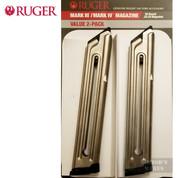RUGER MK IV MK III .22LR 10 Round MAGAZINE Nickel 2-PACK 90231