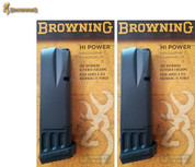 Browning HI POWER 9mm 10 Round MAGAZINE 2-PACK w/ Rubber BASE PADS 112051193