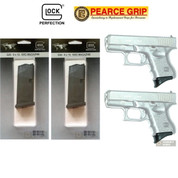 TWO GLOCK 26 9mm 10 Round MAGAZINES + Pearce Grip EXTENSIONS 26010 PG-26