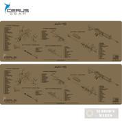 "Cerus Gear AR15 Schematic ProMAT Bench MAT 2-PACK 12"" x 36"" Coyote RM-AR15-SCH-COY"