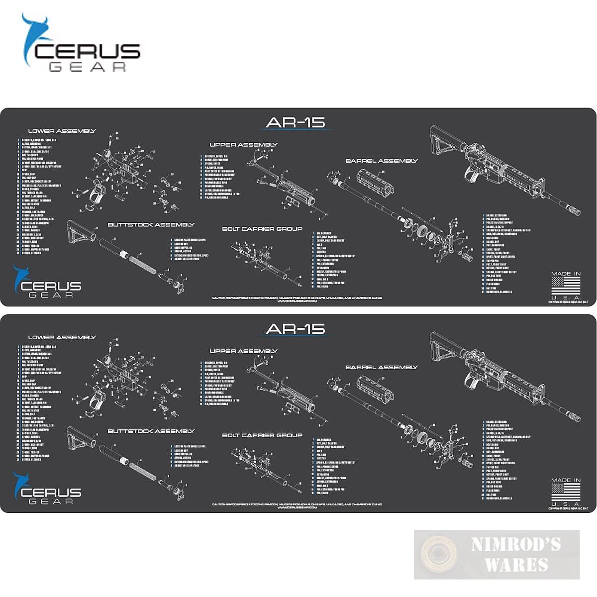 Cerus Gear AR15 Schematic ProMAT Bench MAT 2-PACK 12