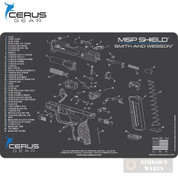 "Cerus S&W M&P SHIELD Schematic Bench MAT 12"" x 17"" HMSWMPSHLDSCHGRY"