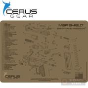 """Cerus S&W M&P SHIELD Schematic Bench MAT 12"""" x 17"""" HMMPSHLDSCHCOY"""
