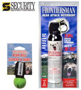 FRONTIERSMAN Bear Pepper SPRAY 35Ft Range 9.2oz + Holster + BEAR BELL FBAD07 BB01GN