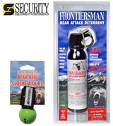 Frontiersman BEAR Pepper SPRAY 30ft Range 7.9 oz + BEAR BELL FBAD03 BB01GN