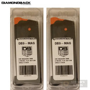 Diamondback DB9 9mm 6 Round MAGAZINE 2-PACK Flat Bottom Plate DB9-MAG