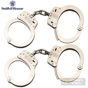 S&W M100 HANDCUFFS 2-PACK Nickel-Plated Carbon Steel 2 Keys Each 350103