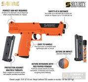 Sabre PEPPER SPRAY LAUNCHER + Extra Mag 14X Pepper Balls 66' Range Self-Defense SL7 SPOCPMAG-01