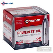 Crosman POWERLET CO2 CARTRIDGES 25-Count 12g Airgun Airsoft 2311