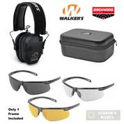 WALKER's RAZOR EARMUFFS + Birchwood SHOOTING GLASSES + Walker's CASE GWP-RSEM 43453 GWP-MSGSC
