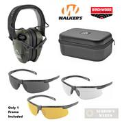WALKER's RAZOR EARMUFFS + Birchwood SHOOTING GLASSES + Walker's CASE GWP-RSEM-MCCG 43453 GWP-MSGSC