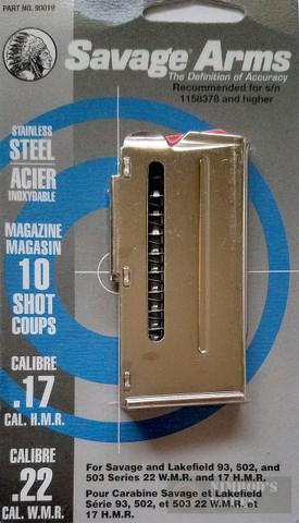 Savage 93 305 310 502 503 Ser. 22WMR/17HMR 10Rd Magazine 90019