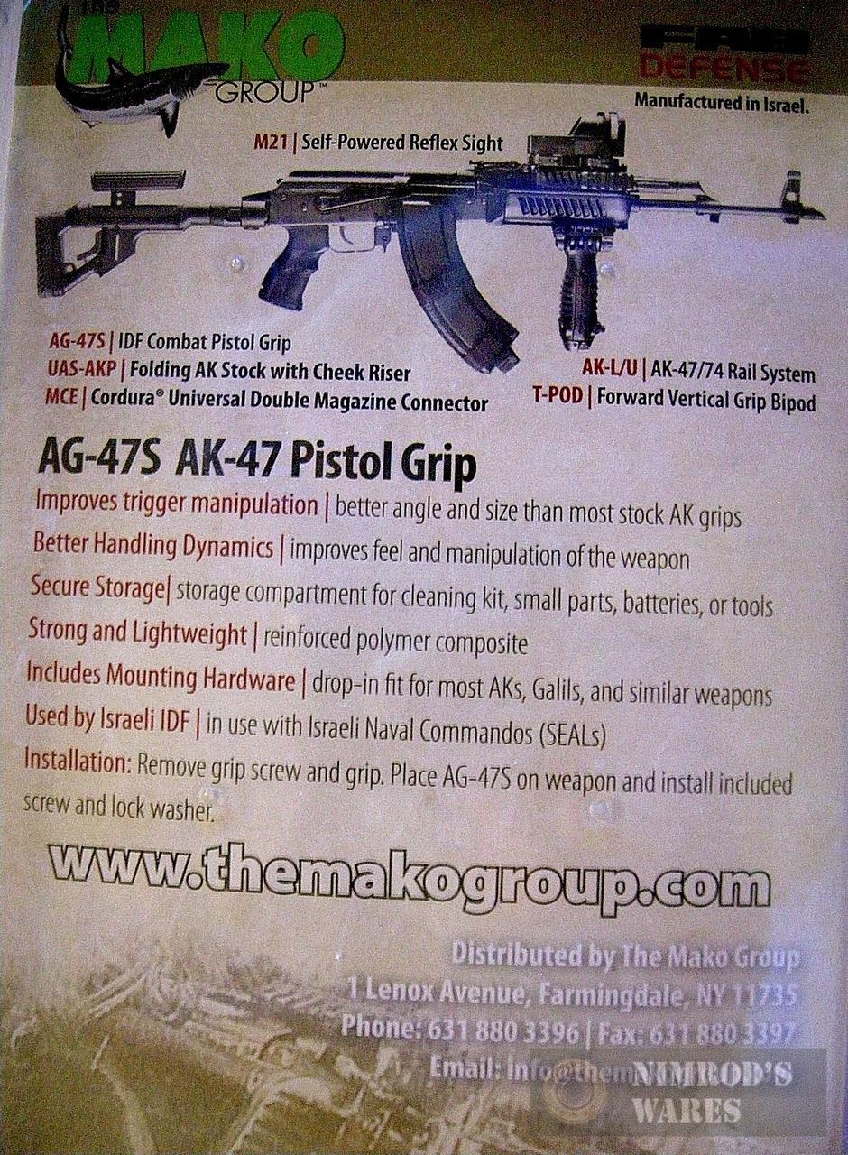 MAKO AG47S Ergonomic Pistol Grip w/ Storage 7 62/Galil Black