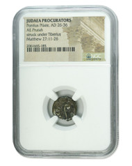 Maccabean Kings 135-37 BC Widows Mite NGC Certified