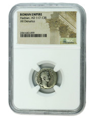 Roman Silver Denarius of Hadrian (AD 117-138) NGC (Low grade)