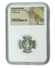 Roman Silver Denarius of Hadrian (AD 117-138) NGC (Medium grade)