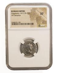 Roman Silver Denarius of Elagabalus (AD 218-222) NGC (XF)