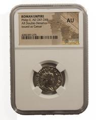 Roman Silver Antoninianus of Philip II (AD247-249) NGC (AU)