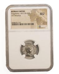 Roman Silver Denarius of Elagabalus (AD 218-222) NGC (AU)