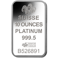 10 oz Platinum Bar - Brand Varies (w/ Assay)