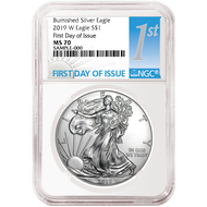 2019 $1 Burnished Silver Eagle NGC MS70 First Day of Issue