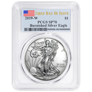 2019 $1 Burnished Silver Eagle PCGS SP70 First Day of Issue