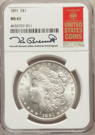 1891 S$1 Morgan Dollar NGC MS65