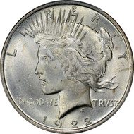 1922-P Peace Silver Dollar Brilliant Uncirculated - BU