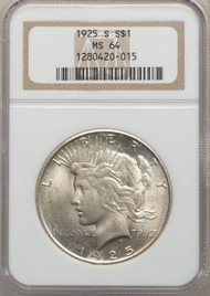 1925-S S$1 Peace Dollar NGC MS64