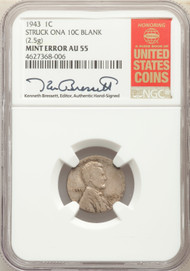 1943 1c Lincoln Cent NGC AU55 Struck on a 10c Blank Error