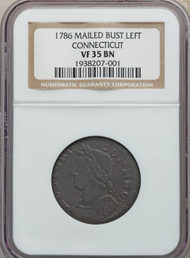 1786 Connecticut Copper Mailed Bust Left Colonial NGC VF35BN