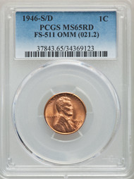 1946-S/D 1c Lincoln Cent PCGS MS65RD FS-511