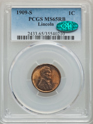 1909-S 1c Lincoln Cent PCGS MS65RB CAC